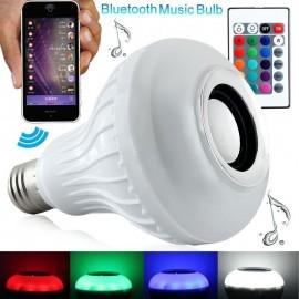 LÂMPADA LED 12W RGB CONTROLE REMOTO COM SOM BLUETOOTH